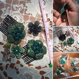 Soho flower crystal combs and barrettes.